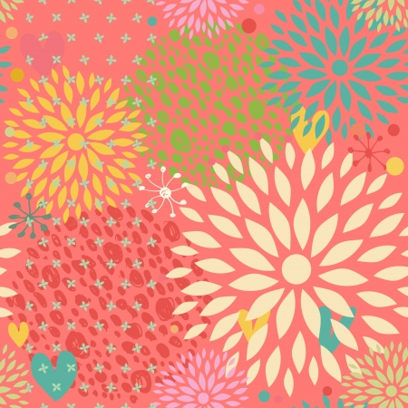 Fantasy seamless pattern with flowers