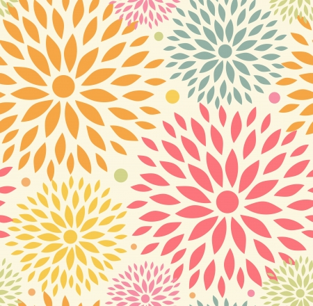 Decorative cute background with round flowers Vector