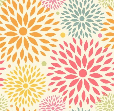 endlos: Dekorative niedlich Hintergrund mit runden Blüten