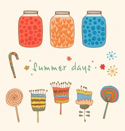 Summer set with berries, jams, flowers, leafs