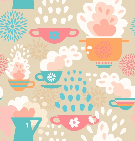 Creative seamless kitchen pattern  Background with cups, teapots, coffee and pan, saucepan  Pots and pans Vector