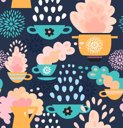 boiling pot: Decorative seamless kitchen pattern  Background with cups, teapots, coffee and pan, saucepan  Pots and pans