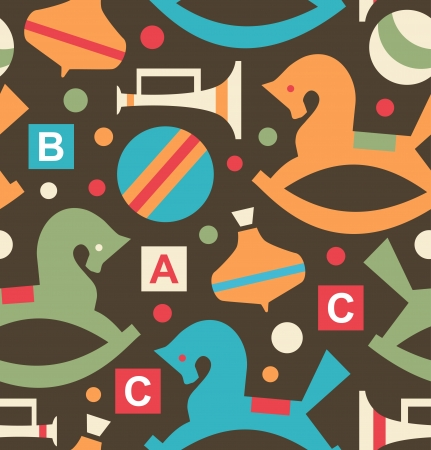 perinola: Modelo incons�til decorativo con juguetes elementos Infancia Fondo con perinola, tarareando superior, Gee-Gee, caballito, bola, trompeta, cuerno Vectores