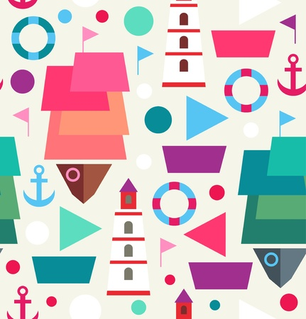 toy boat: Marine seamless bright pattern  Sea creative background with ships, boats, lighthouses, beacons and anchors