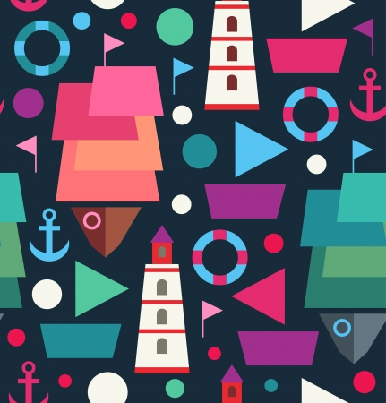 beach buoy: Marine seamless decorative pattern  Sea creative background with ships, boats, lighthouses, beacons and anchors