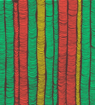 pleat: Rows of red and green hand drawn vertical folds