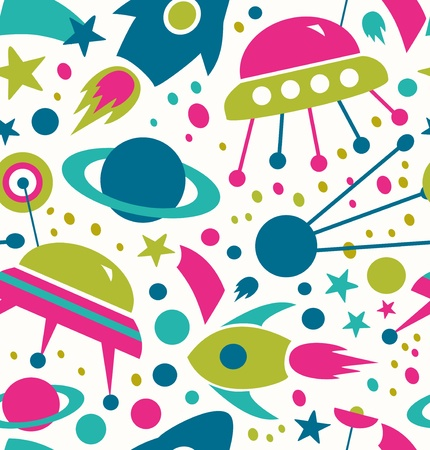 extraterrestrial: Seamless cosmic pattern  Decorative space background with stars, rockets, spaceships, comets