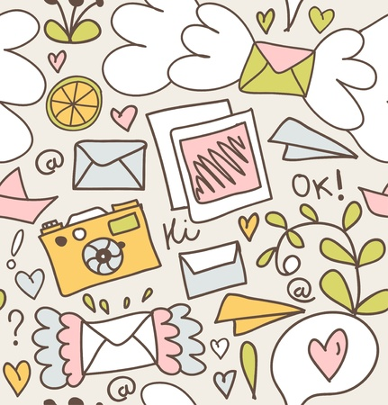 Seamless mail pattern  Decorative post backgrounds with letters, camera, fruits, and other cute elements Vector