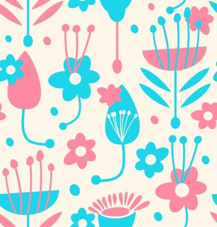 scandinavian people:  Childish seamless floral pattern
