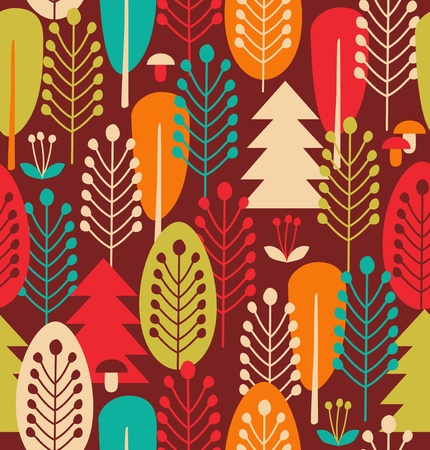 scandinavian landscape: Seamless background with decorative trees