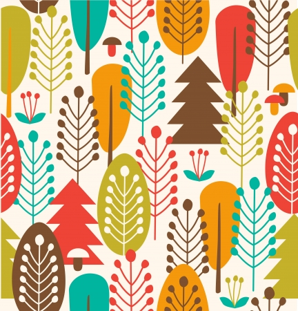 Seamless background with stylized trees Vector