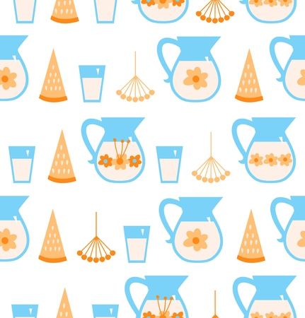 Seamless pattern with milk, melon, berries Vector