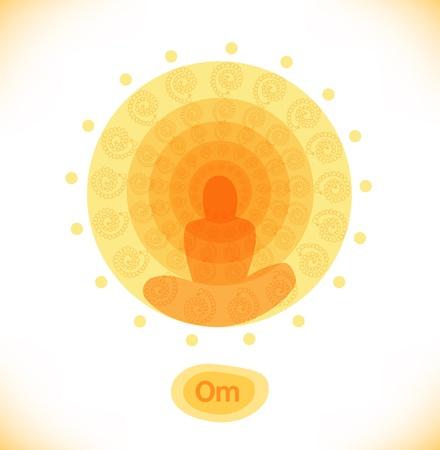 Glanzende mandala boeddhistische banner hindoeïsme symbool illustratie van de yoga Stockfoto - 20911118