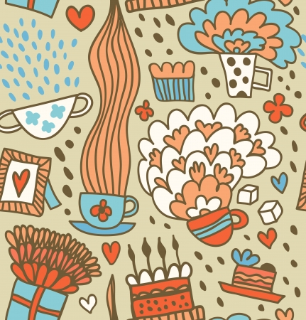teatime: Coffee doodle pattern  Tea party fantacy background Illustration