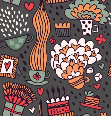 Coffee seamless pattern  Tea party background Vector
