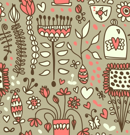 Coffee doodle pattern  Tea party fantasy background Vector