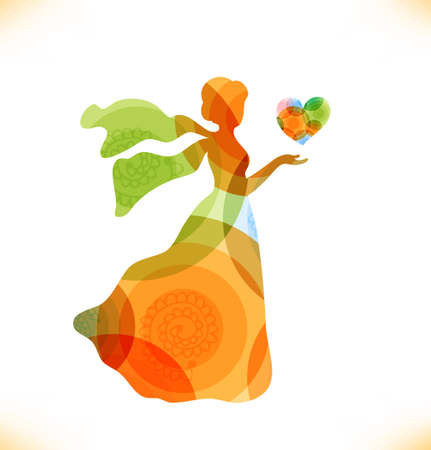unusual valentine: Beauty fantasy woman with heart  Fairy magic woman Illustration