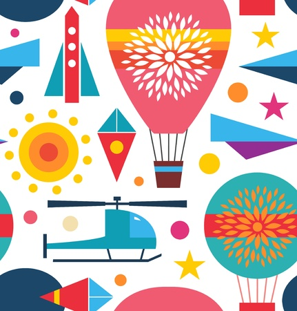 Decorative seamless sky pattern  Background with air balloon, helicopter, kite, airplane sky rocket  Childish geometric bright texture Vector