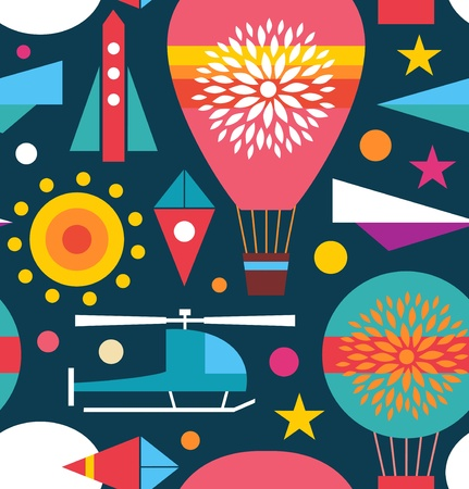 seamless sky: Decorative seamless sky pattern  Background with air balloon, helicopter, kite, airplane sky rocket  Childish geometric texture