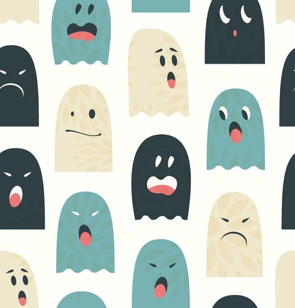 Seamless pattern with cute ghosts  Spooks background Vector
