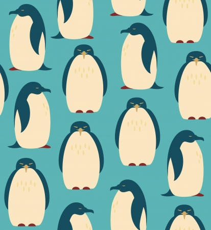 Seamless pattern with penguins  Birds decorative background Çizim