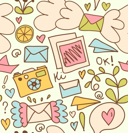 Seamless mail pattern  Cute post background with letters, camera, fruits, and other beautty elements Vector