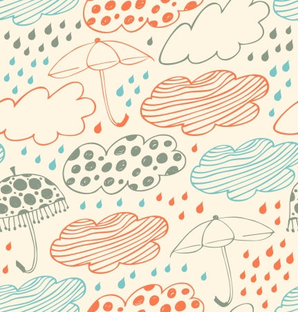rain cartoon: Bright rainy seamless background  Lace pattern with clouds, umbrellas and drops of rain  Cartoon doodle texture with many beauty details