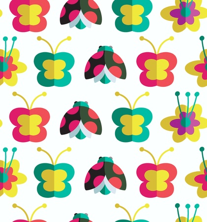 Decorative seamless pattern with insects and flowers  Background with ladybirds, flowers and butterflies