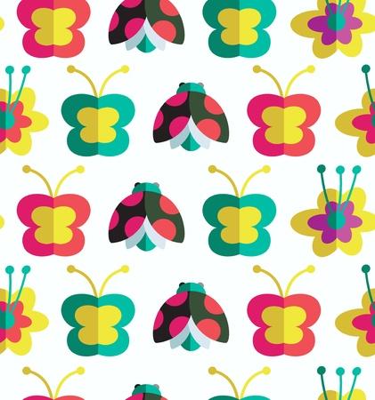 Dekorative nahtlose Muster mit Insekten und Blumen Hintergrund mit Marienkäfer, Blumen und Schmetterlinge Standard-Bild - 21575922