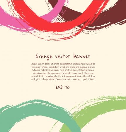 Grunge verf banner Artistieke kleurrijke achtergrond met getekende ringen