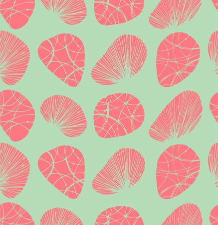Pastel seamless background  Pattern with decorative stones and shells Vector