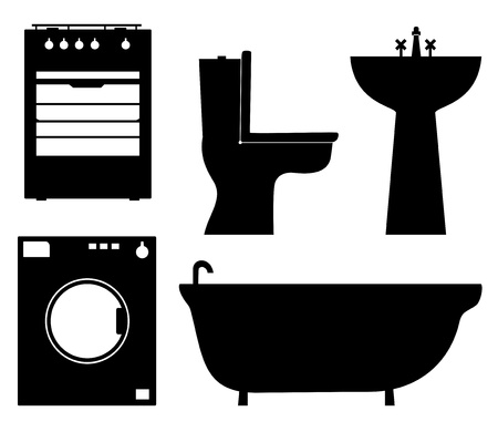 kitchen range: Set of black isolated contour silhouettes of household appliances, bathroom furniture  Icons collection