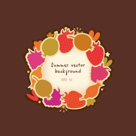 food market: Summer round banner with berries