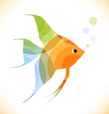 scalar: Vector multicolor fish  Isolated scalar  Beauty unusial element for gifts, cards, invitations