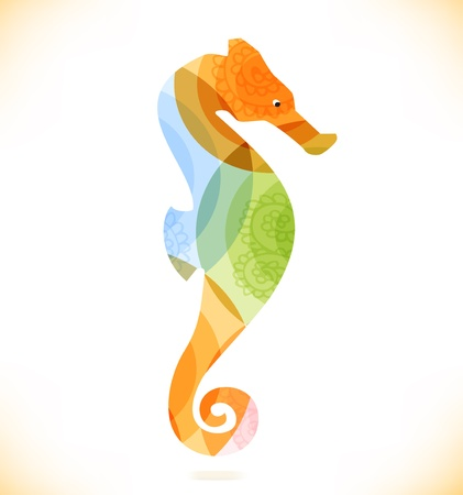 pulsation: Vector multicolor isolated hippocampus  Beauty unusial element for gifts, cards, invitations Illustration
