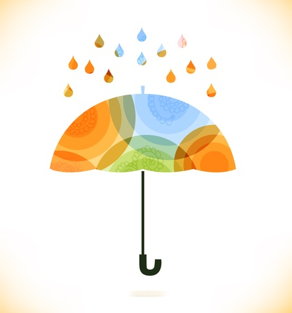 Vector multicolor isolated umbrella over rain drops  Beauty unusial element for gifts, cards, invitations