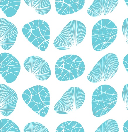 shell pattern: White seamless background  Pattern with decorative stones and shells Illustration