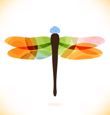 dragonfly wings: Vector multicolor isolated dragonfly  Beauty insect  Unusial element for gifts, cards, invitations