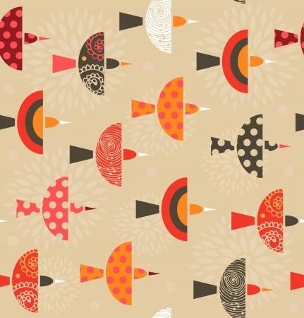 Naadloze sierlijke patroon met vogels Beauty kleurrijke achtergrond met zwerm vogels Stock Illustratie