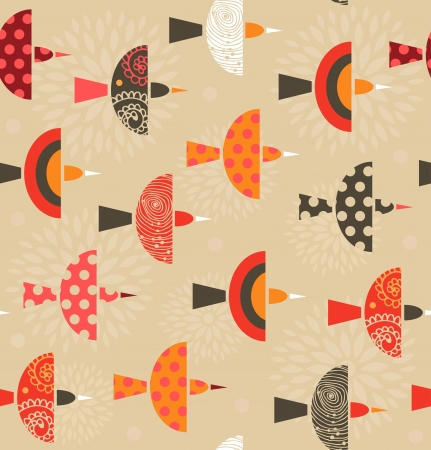 Seamless ornate pattern with birds  Beauty colorful background with flock of birds Illustration