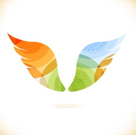 設計のための多色の孤立翼美容 unusial 要素をベクトルします。  イラスト・ベクター素材