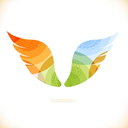 tatouage ange: Vecteur multicolore isol� ailes Beaut� �l�ment unusial pour la conception Illustration