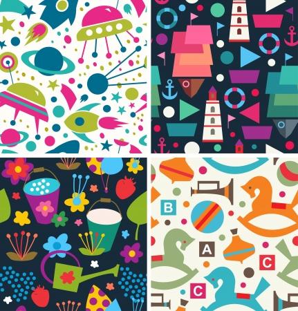 juguetes: Establecer patrones infantiles Vectores
