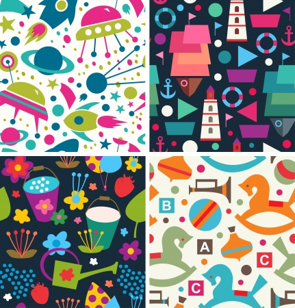 Set childish patterns Vector