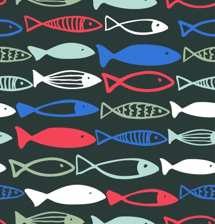 Decorative drawn pattern with funny fish  Seamless marine background  Fabric texture  Ilustrace