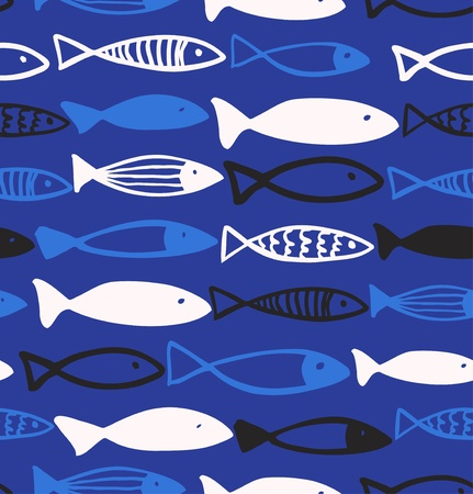 deep south: Decorative drawn pattern with funny fish  Seamless marine background  Fabric texture  Illustration