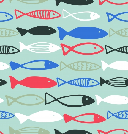 Decorative drawn pattern with funny fish  Seamless marine background  Fabric texture  Vector