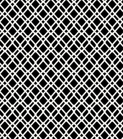 Seamless black and white geometric netting pattern  Grating background  Grate, lattice  Vector