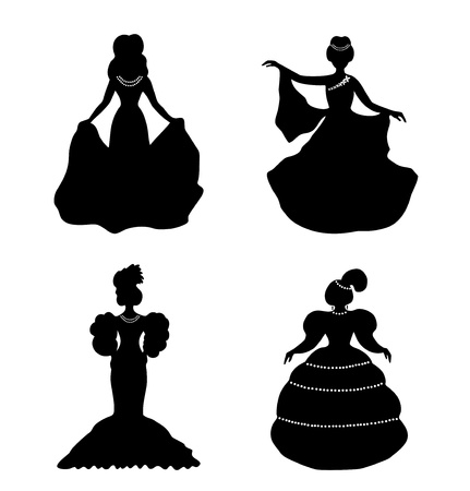 aristocratic: Black isolated women silhouettes  Vintage icons collection of retro women  Set of romantic women in modern dresses