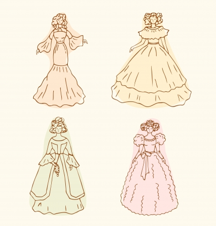 historical romance: Retro isolated women sketches  Vintage collection of retro women  Set of women in modern dresses Illustration